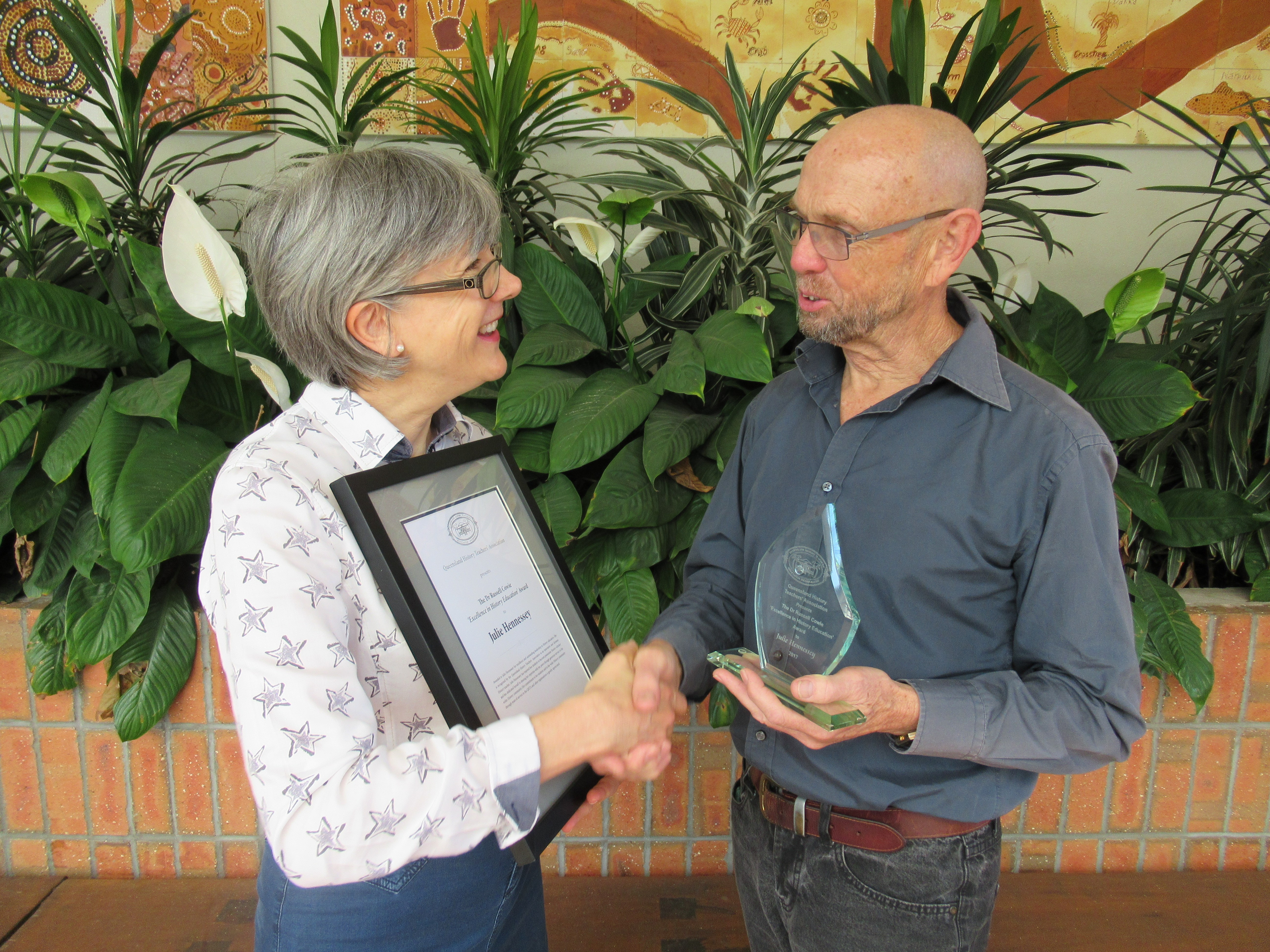 The 2017 Dr Russell Cowie Excellence in History Education Award awarded to Julie Hennessey